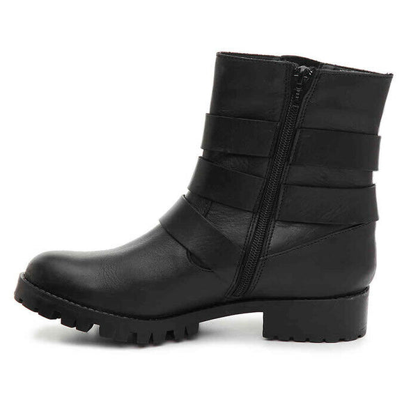 Steve Madden Womens Ming Black Leather Moto Lug Sole Bootie Boots Size 7