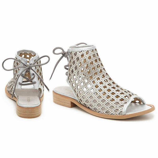 Musse & Cloud Aimy Distressed Silver Leather Boho Sandal Size 8