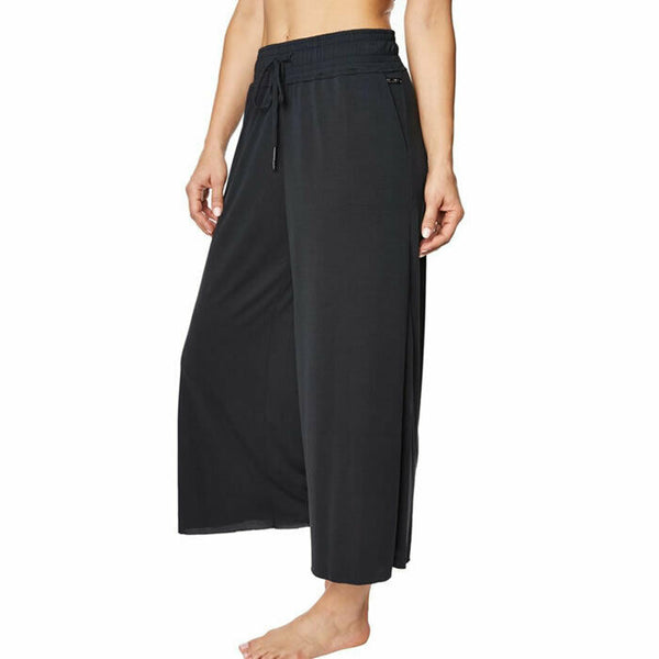 Betsey Johnson Performance Womens Black Cropped Wide Leg Cropped Pants Size L
