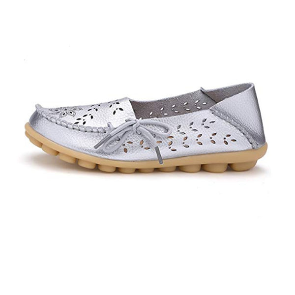 Metallic Silver Driving Moccasin Size 8