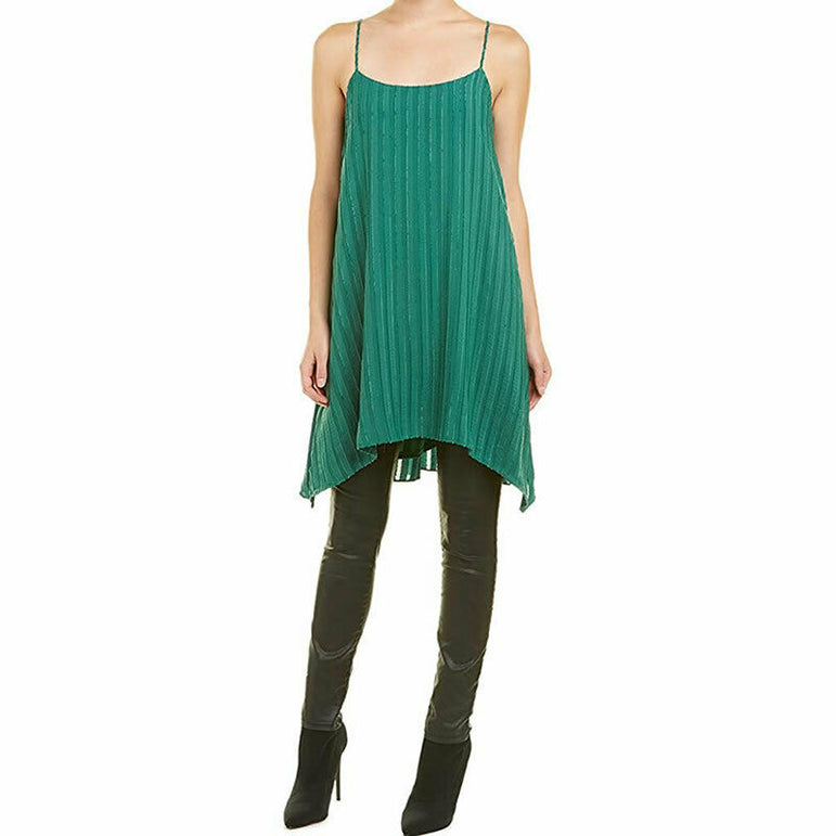 BCBGMAXAZRIA Women's Low Back Pleated Sleeveless Green Dress Size S