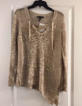 New INC Layering Tunic Gold Top Size XL New with Tags