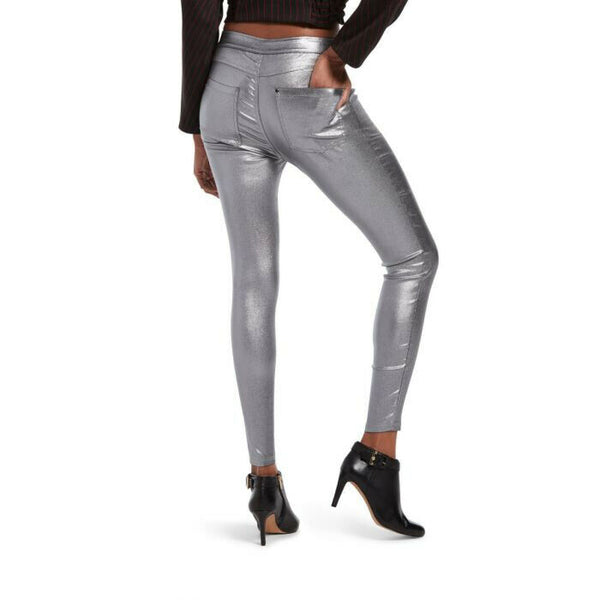Hue Iridescent Denim Style Silver Metallic Leggings Size XL