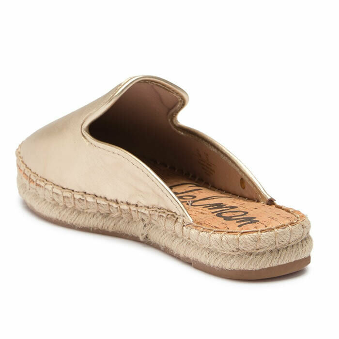 Sam Edelman Kerry Gold Leather Slip On Espadrille Mules Size 6.5
