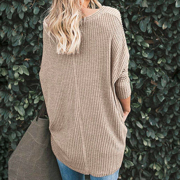 For the Republic Women's Waffle Knit Long Sleeve Oatmeal Tunic Top Size M