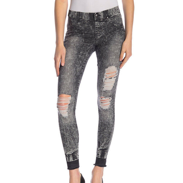 Zeza B By HUE Black Wash Shredded Denim Leggings Size XL NWT