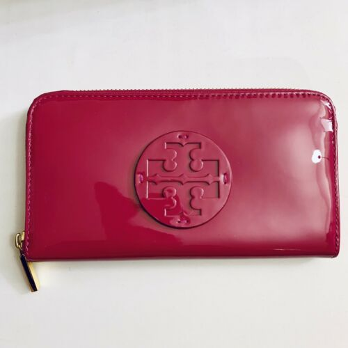 Tory Burch Stacked Pink Patent Leather Zip Continental Wallet