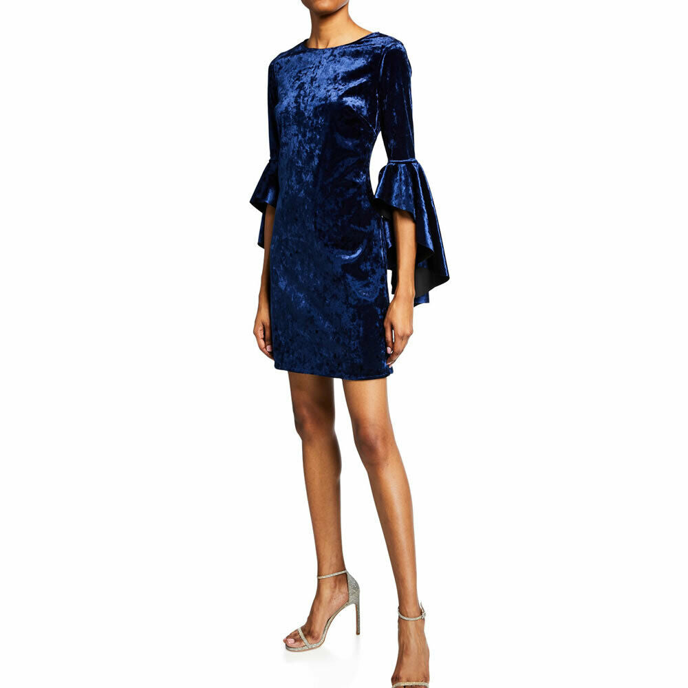 Laundry By Shelli Segal Blue Velvet Cascading Bell Sleeve Dress Size 10