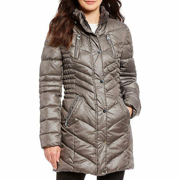 Laundry by Shelli Segal Gray Faux Fur Trim Hooded Puffer Coat Size XL $245