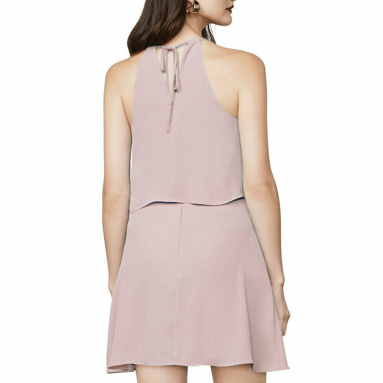 BCBGMAXAZRIA Pink Caylan Ruffled Halter Chiffon Cocktail Flirty Dress Size S