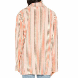 Free People Women's Simply Stripe Linen Blend Boyfriend Blazer OB924165 Size M