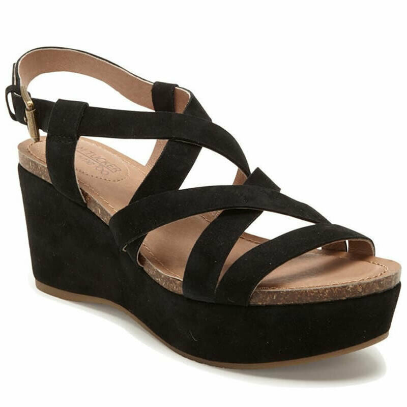 Adam Tucker by Me Too Bria Strappy Wedge Leather Sandal Size 9.5