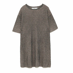 Zara Silver and Pink Metallic Weave Knit Tunic Top Size S