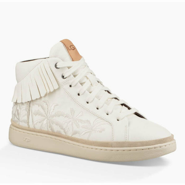 Ugg Cali High Fringe White Leather Fashion Sneakers Size 9.5