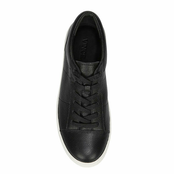 Vince Afton Black Leather Lace Up Low-Top Fashion Sneaker SIZE 9 $295