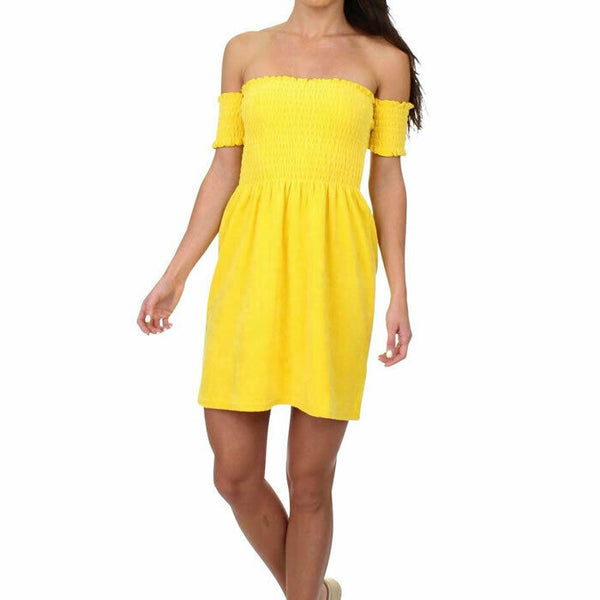 Juicy Couture Womens Yellow Off The Shoulder Smocked Terry Sun Mini Dress Size S