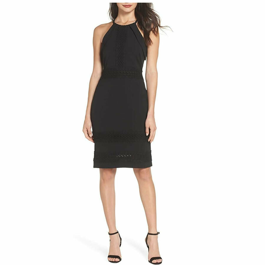 Adelyn Rae Black Halter Lace Sheath Dress $117 Size M