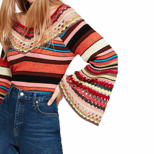 Free People Womens Boho Chic Heart and Soul Sweater Size S