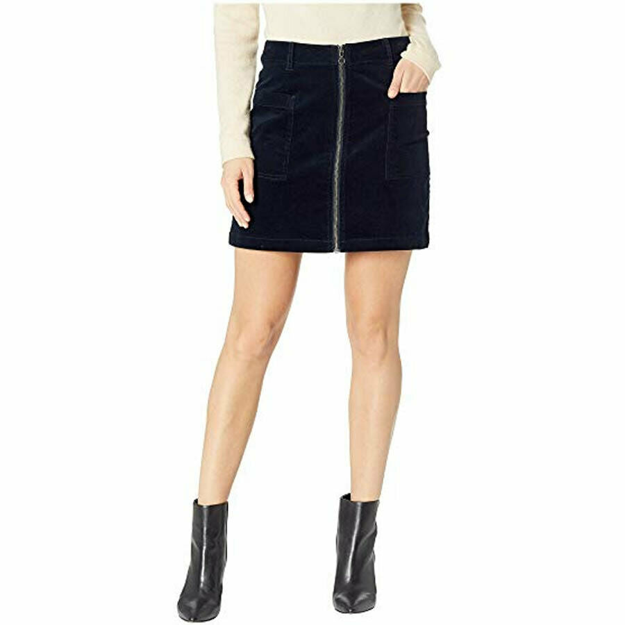 1.STATE Women's Classic Navy Patch Pocket Zipper Accent Corduroy Mini Skirt