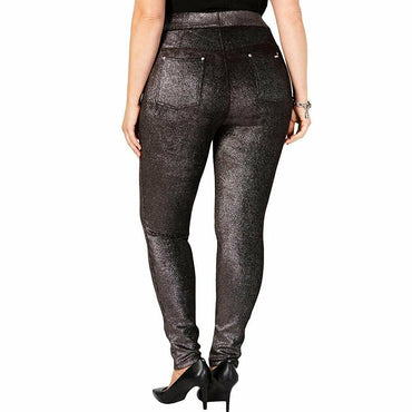 Michael Kors Velvet Foiled Black and Silver Metallic Stretch Leggings