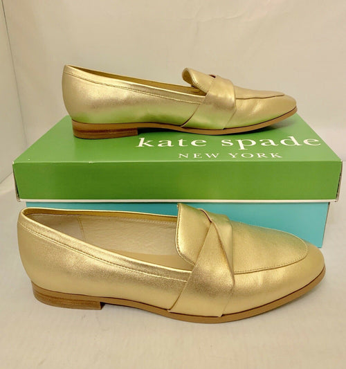 9e96f7b1363 KATE SPADE Satchi Gold Metallic Leather Loafers Flats Shoes Size 8.5