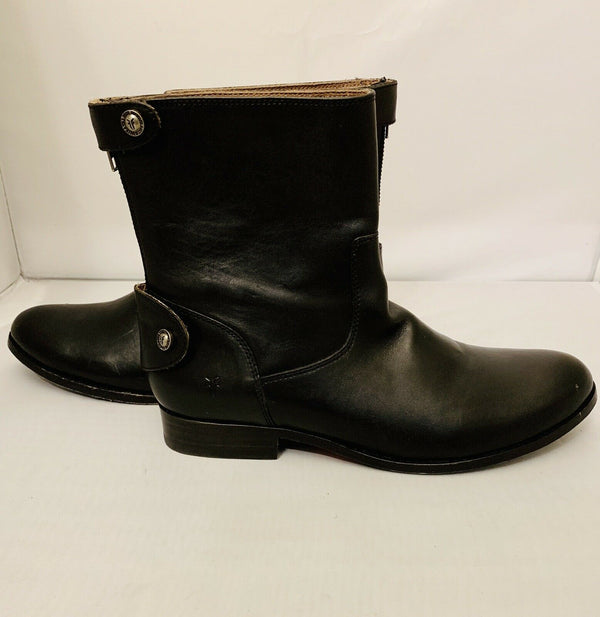 Frye Melissa Button Back Zip Short Black Leather Boot Bootie Size 6