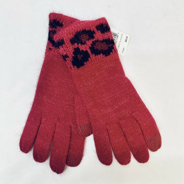 Coach Ocelot Touch Gloves Cranberry Burgundy Metallic $80