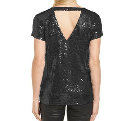 Halogen Sequin Cap Sleeve Black Top Size L