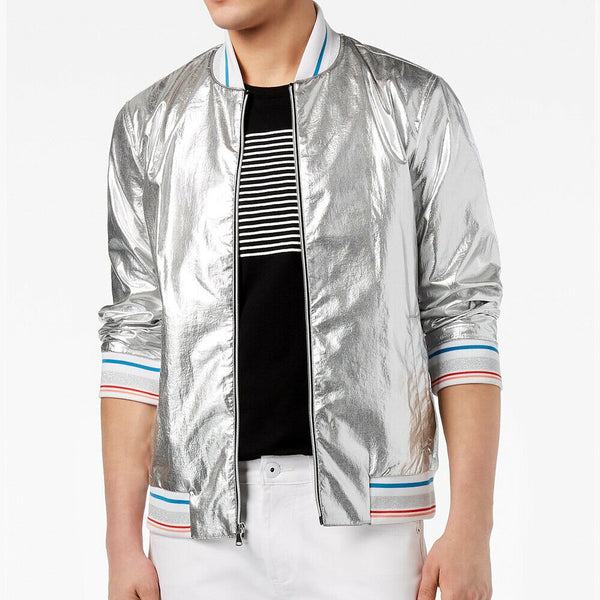I.N.C. INC International Concepts Men's Silver Metallic Bomber Jacket Size XL