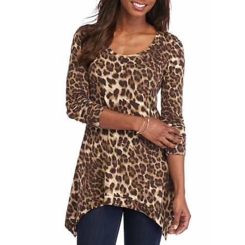 Grace Elements Leopard Print Tunic Top Size M NWT