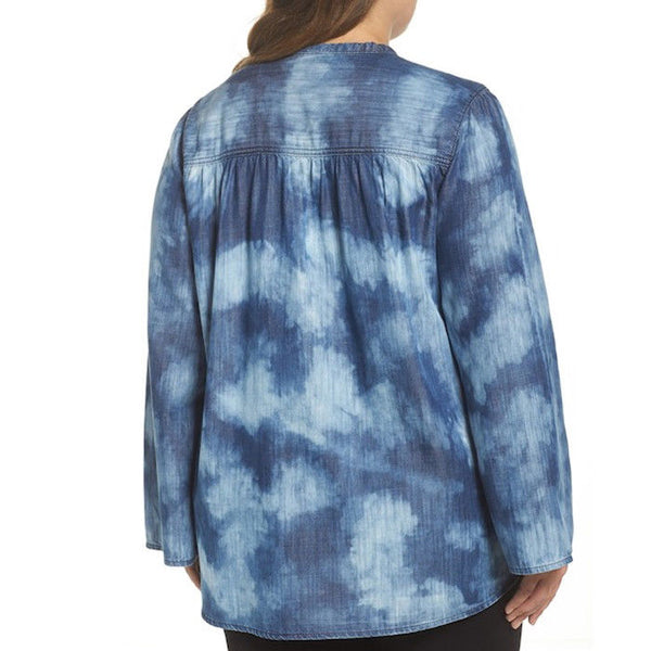 Melissa McCarthy Seven7 Lace-Up Tie Dye Denim Top Plus Size 1X