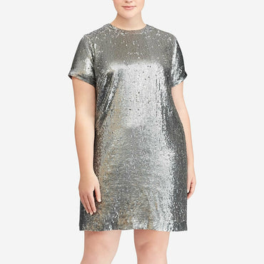 Lauren Ralph Lauren Silver Sequin Georgette Night Out Shirt Dress Size 16