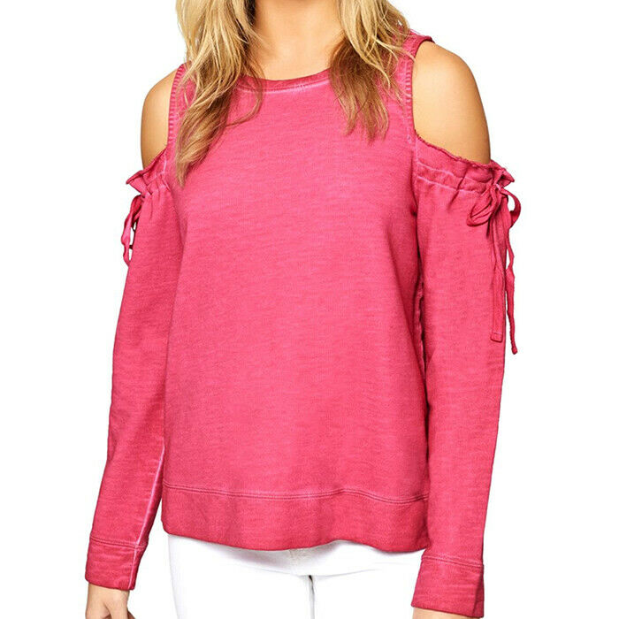Sanctuary Camellia Pink Cold-Shoulder Sweatshirt Top Size S MSRP $79