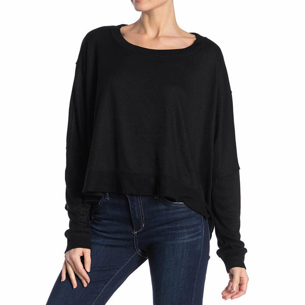 Abound Womens Black Dolman SleeveCropped Oversized Pullover Top Size S