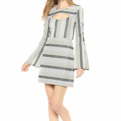 BCBGeneration Gold Metallic Striped Cutout Tie Bell Sleeve Mini Dress Size S