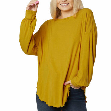 Free People Untamed Gold Shimmy Shake Oversized Knit Top Blouse Size L