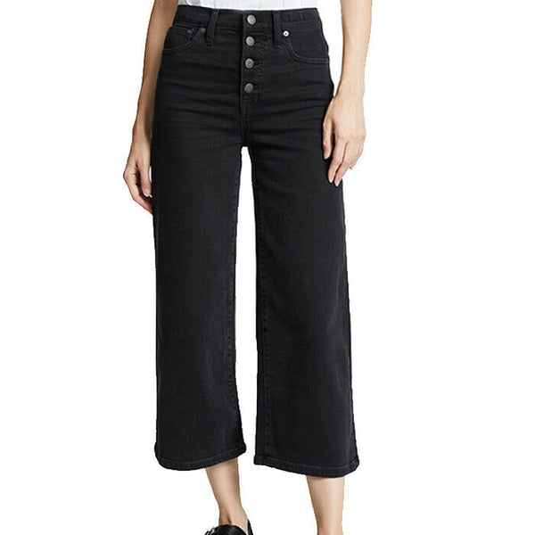 Madewell Wide-Leg Crop Jeans in Lunar Wash:Button Front Edition Size 31