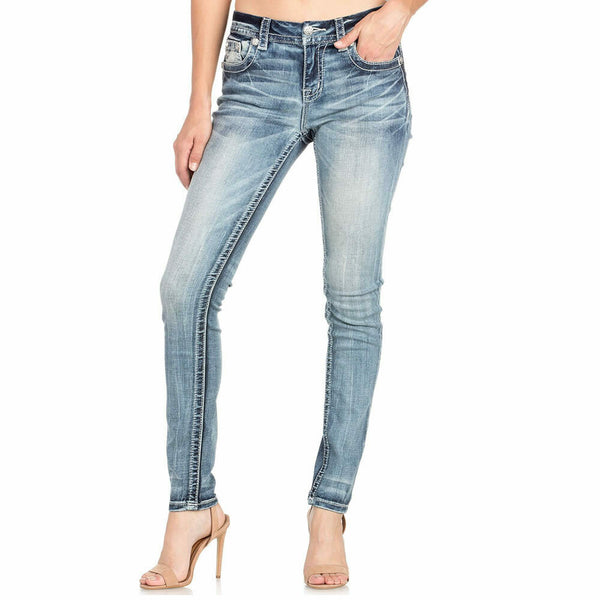 Miss Me Mid Rise Easy Skinny Embroidered Stretch Women Jeans Size 33