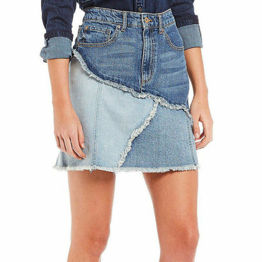 Ella Moss High Waist Jackie Scrolling Frayed Seam Jean Denim Mini Skirt Size 29
