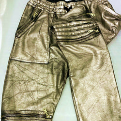 Robin's Jeans Mens Gold Metallic Sunrise Coated Moto Joggers Sweatpants F50246