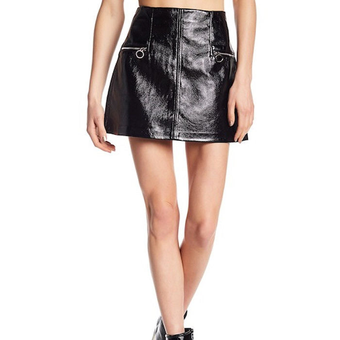 BlankNYC Faux Black Patent Leather Mini Skirt Size 30 NWT