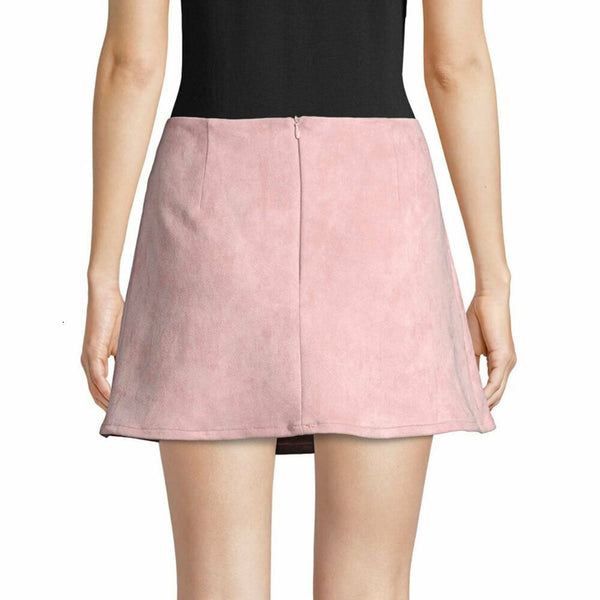 French Connection Pink Classic Faux Suede Mini Skirt Size 12 $148