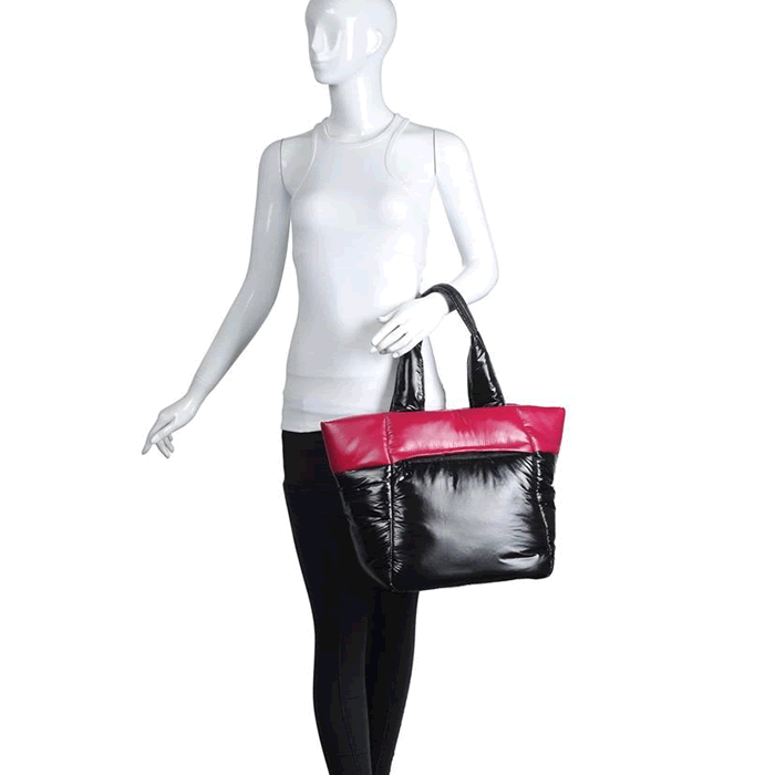 UrbanFit by Urban Expressions Asana Pink Colorblock Tote Bag