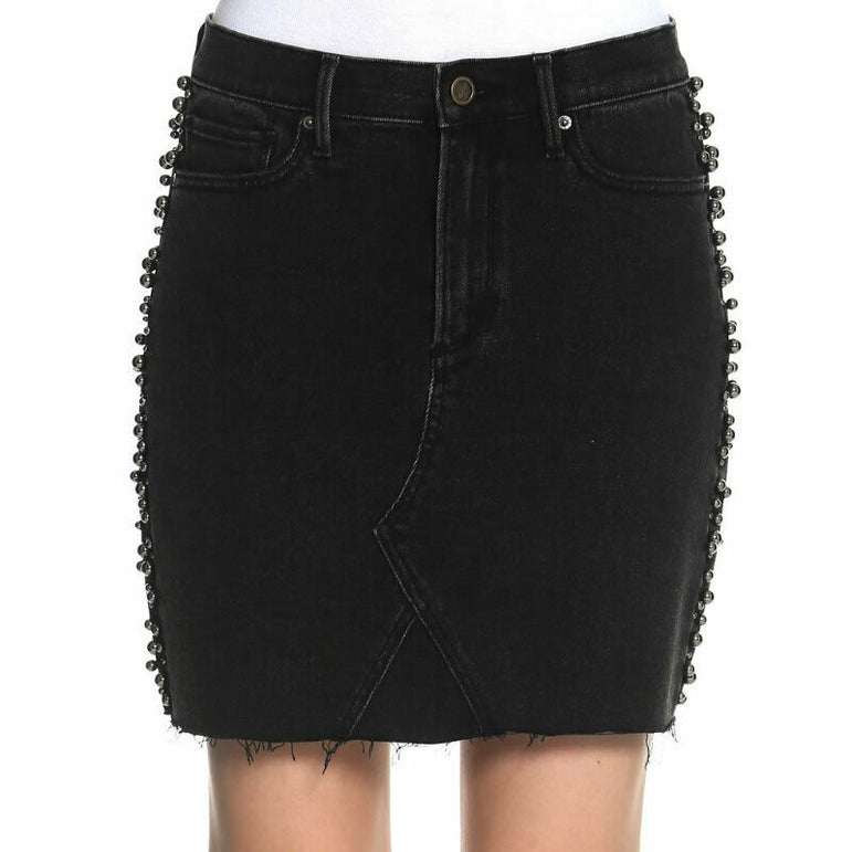 Driftwood Stef Faux Pearl-Embellished Stretch Denim Jean Skirt Size 32 $108