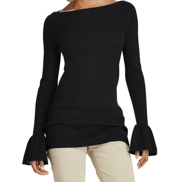 Ralph Lauren Ruffle Cuff Black Ribbed Sweater Size XL