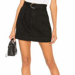 Free People Size 30 Jade Belted Black Denim Mini Skirt