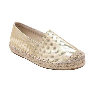 Andre Assous Ilia closed-toe slip on flat gold leather espadrille size 9