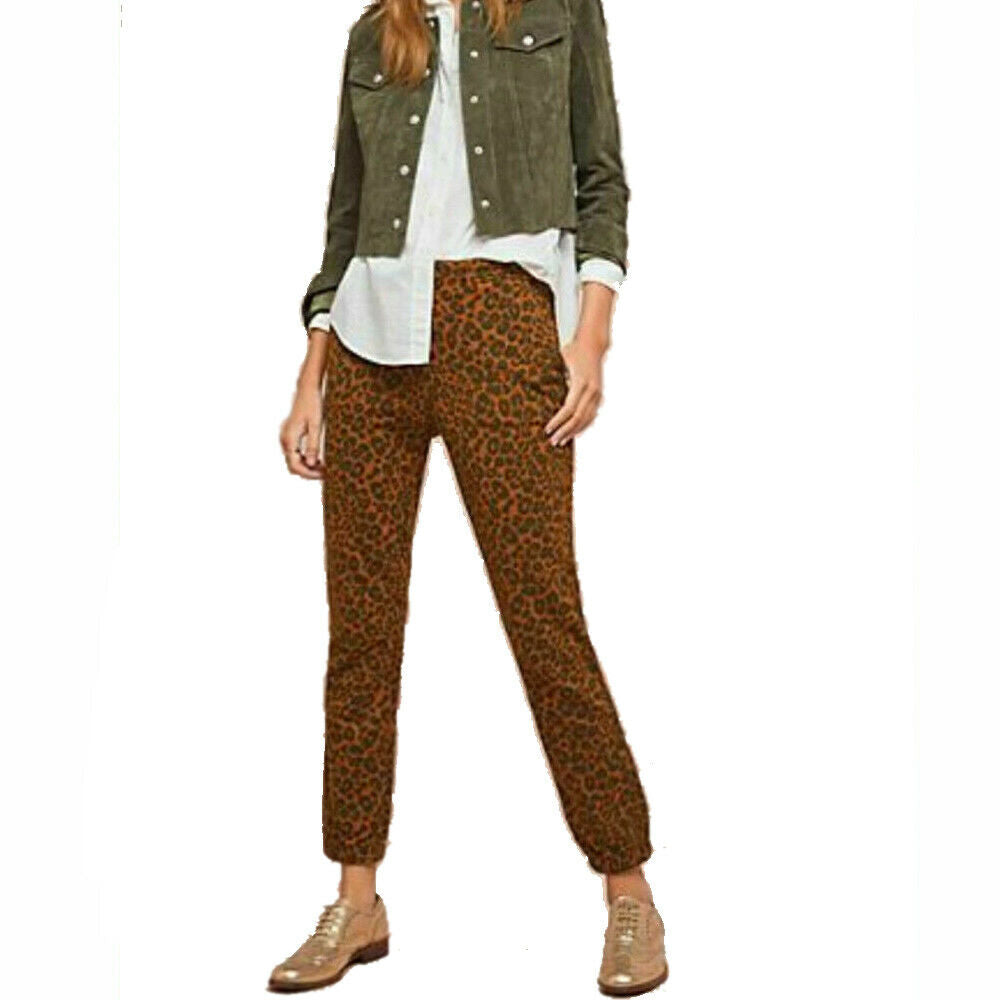 Anthropologie x Sanctuary Womens Leopard Print Stretch Joggers Pants Size S
