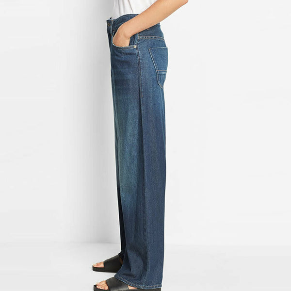 Vince High Rise 5 Pocket Wide Leg Premium Denim Blue Jeans Size 25 $275