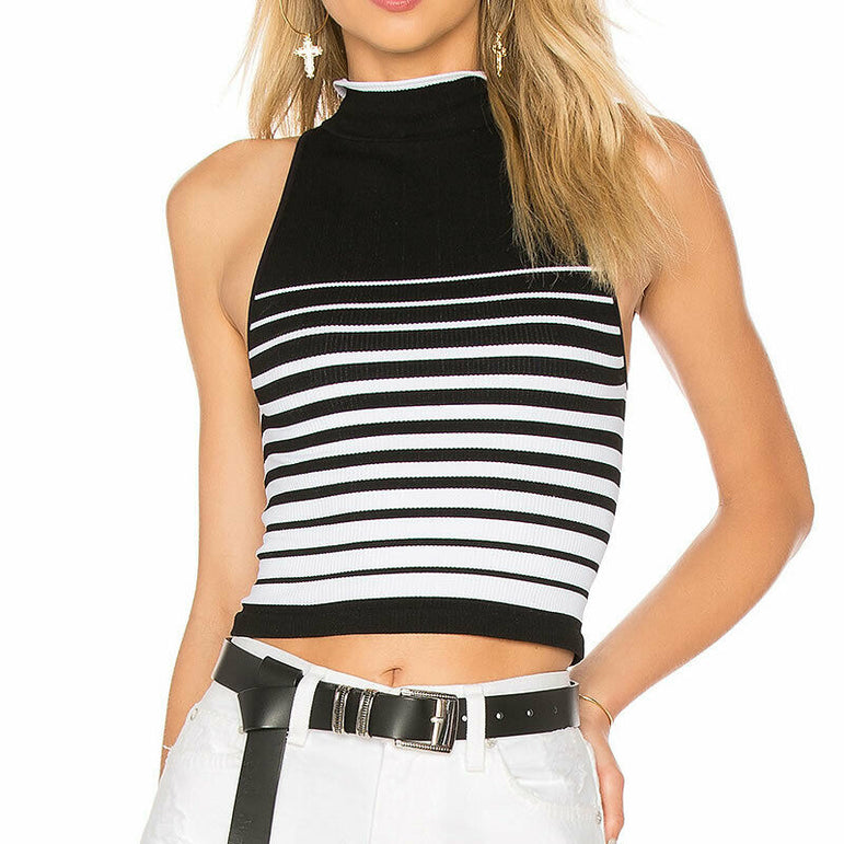 Free People High Five Crop Seamless Tank Top Black & White Size XS/S (size 0-6)